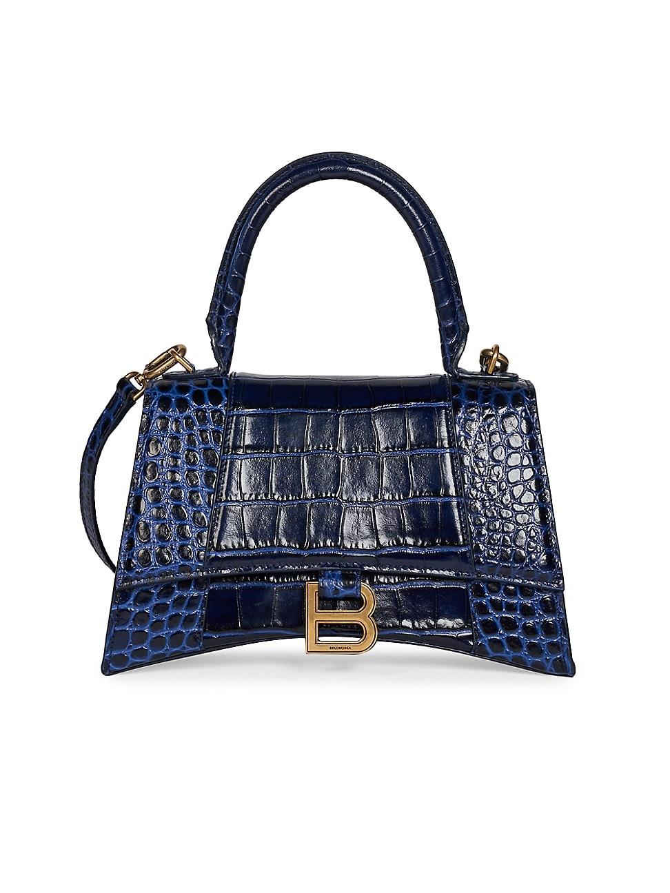 Balenciaga WOMEN'S HOURGLASS LEATHER TOP HANDLE BAG - NAVY