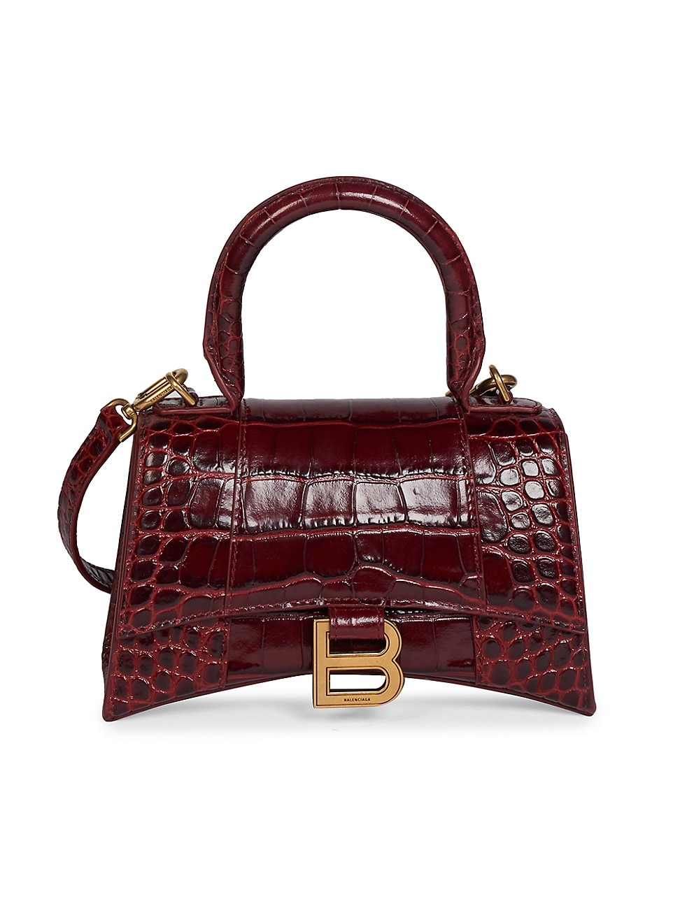 Balenciaga WOMEN'S EXTRA-SMALL HOURGLASS CROC-EMBOSSED LEATHER TOP HANDLE BAG