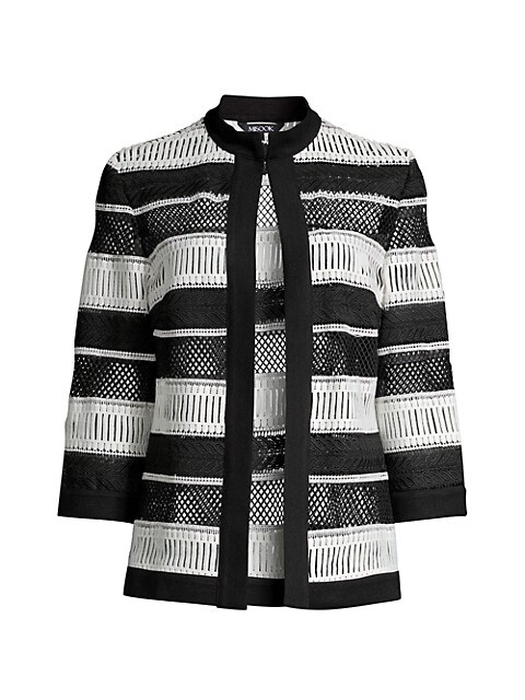 Misook Plus Size Knit Trim Woven Lace Jacket Saksfifthavenue