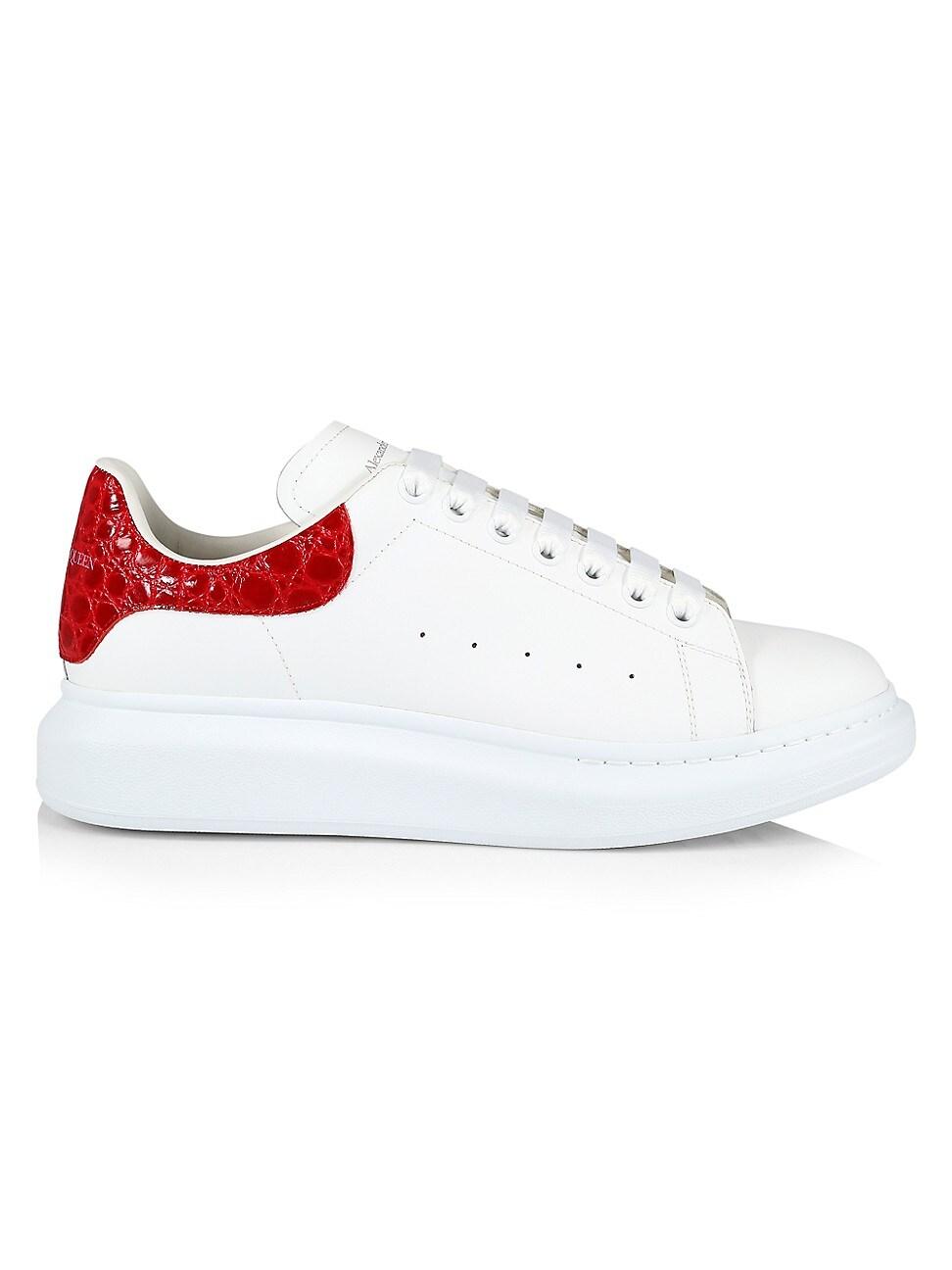 Alexander Mcqueen Men's Men's Croc-embossed Leather Platform Sneakers In White/red