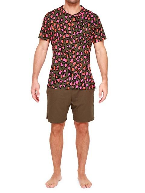 Leonard 2-Piece Leopard-Print Pajama Set