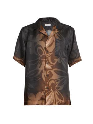 Dries Van Noten T-shirts Carltone Floral Short-Sleeve Button-Front Shirt