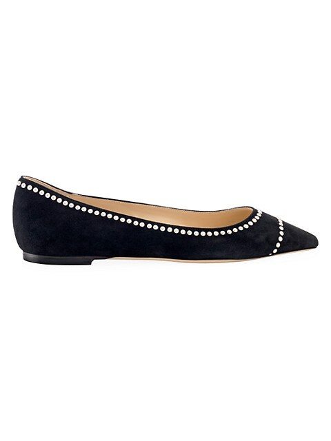 Romy Pearl-Embellished Suede Ballet Flats