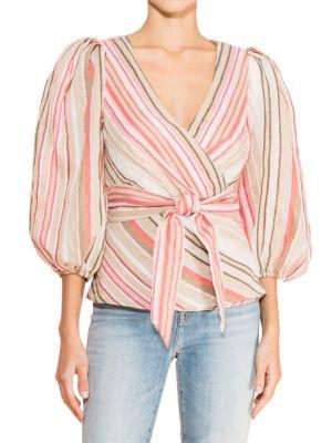 Parker Zenda Striped Wrap Blouse