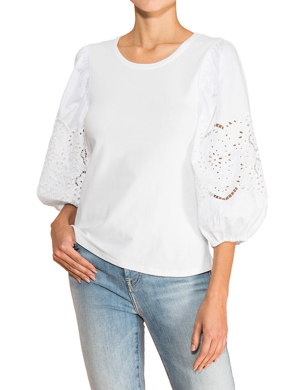 Parker WOMEN'S ZOE EYELET-SLEEVE TOP - IVORY - SIZE LARGE