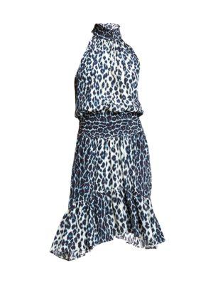 A.l.c Cody Silk Halter Leopard-Print Dress