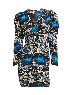 A.l.c Roxy V-Neck Long-Sleeve Printed Dress