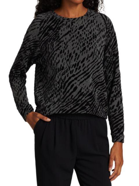 Majestic Filatures French Terry Zebra-Print Sweater   SaksFifthAvenue