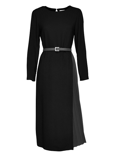 Pleat-Skirt Belted Jersey Dress