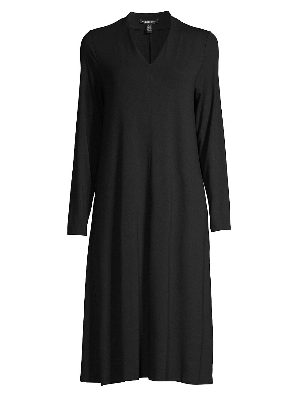 Eileen Fisher Women's V-neck Long-sleeve Dress In Black