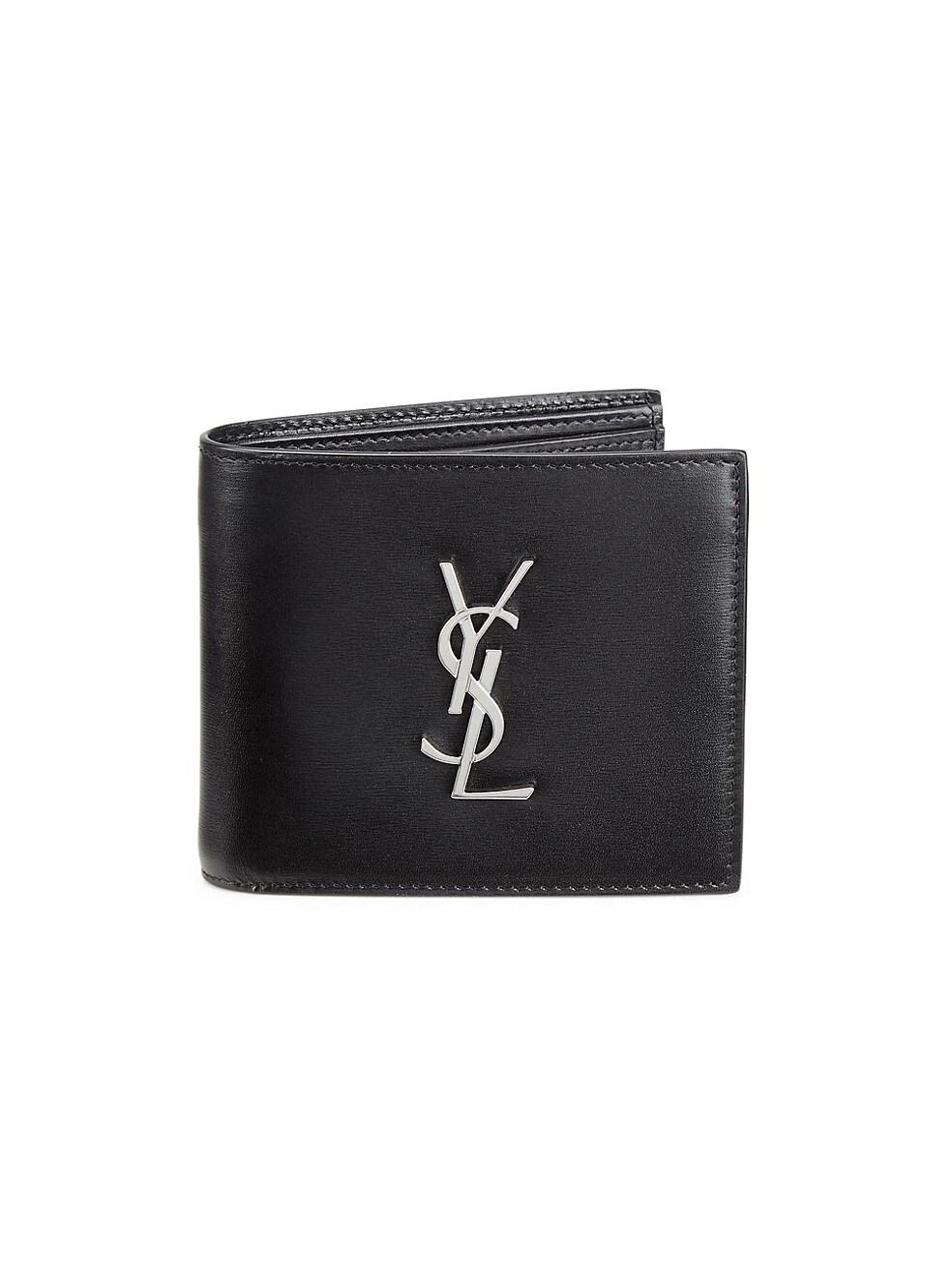생 로랑 Saint Laurent Leather Credit Card Holder,NERO