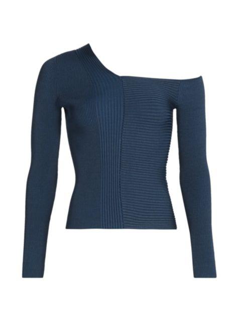 Jonathan Simkhai Charlie Asymmetric Ribbed Sweater | SaksFifthAvenue