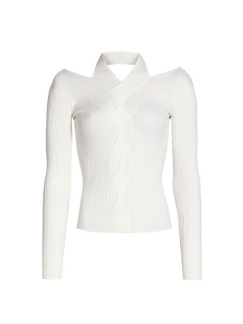 Jonathan Simkhai Leah Ribbed Cable Knit Wool-Blend Sweater   SaksFifthAvenue