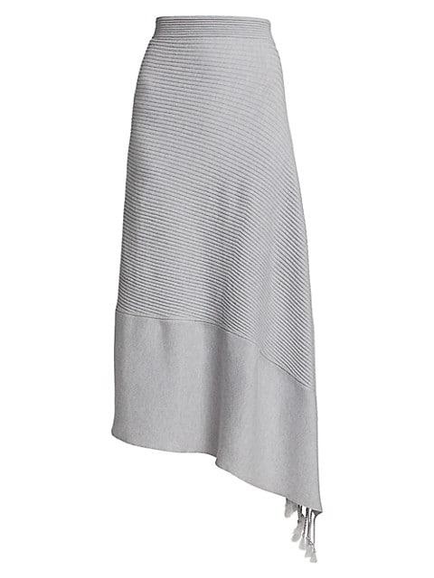 Grace Drape Rib-Knit Merino Wool-Blend Asymmetric Skirt