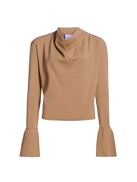 Military Long-Sleeve Ribbed Cowl-Neck Sweater