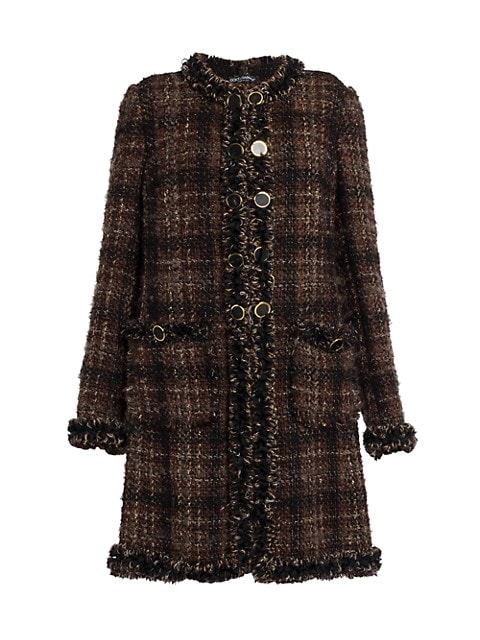 Collarless Tweed Coat