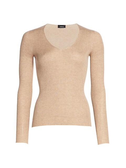 Silk & Cotton V-Neck Sweater