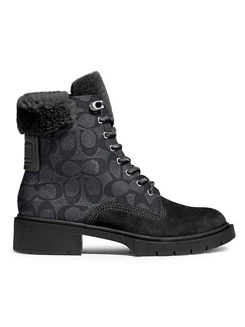 Coach Lorimer Shearling-Trimmed Signature Coated Canvas & Leather Combat Boots