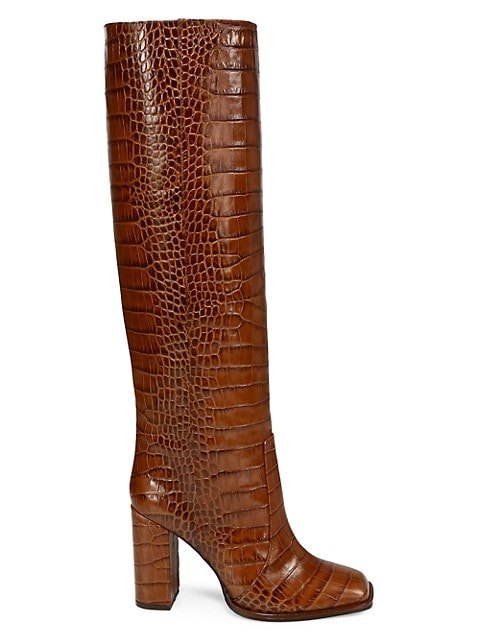 Square-Toe Knee-High Croc-Embossed Leather Boots