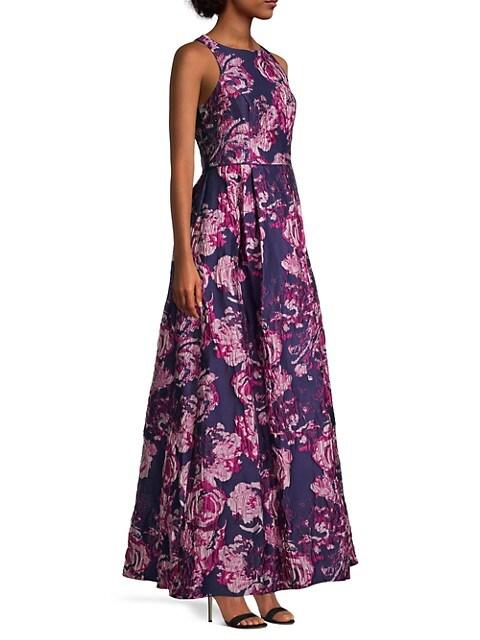 Aidan Mattox Sleeveless Floral Brocade Gown | SaksFifthAvenue