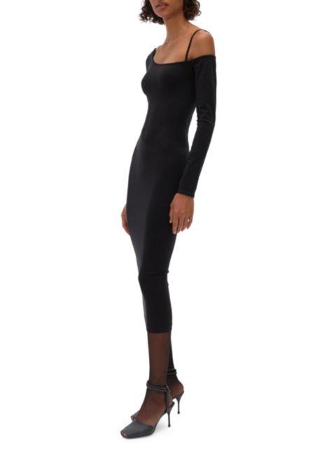 Helmut Lang One-Shoulder Knit Midi Dress   SaksFifthAvenue