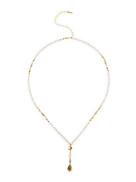 18K Goldplated, 3-4.5MM Pearl & Mystic Labradorite Lariat Necklace