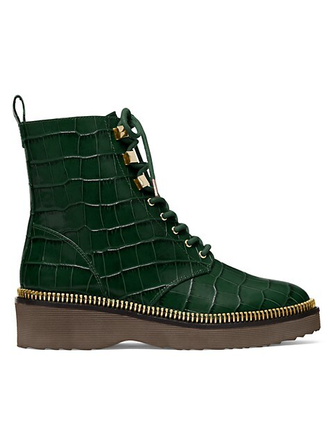 Michael Kors Haskell Croc-Embossed Leather Combat Boots