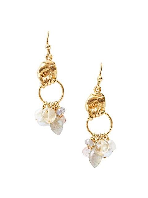 18K Goldplated, 4MM Mixed Pearl & Mixed-Stone Charm Hoop Earrings