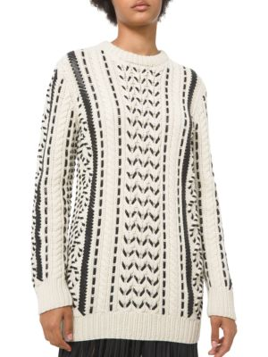 Michael Kors Leathers Leather-Laced Cashmere Knit Crewneck Sweater