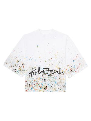 Palm Angels Paint-Splatter Boxy Cotton T-Shirt