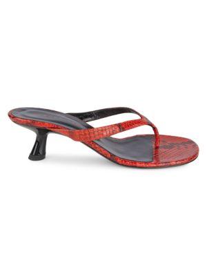 Simon Miller Beep Snakeskin-Embossed Leather Thong Sandals