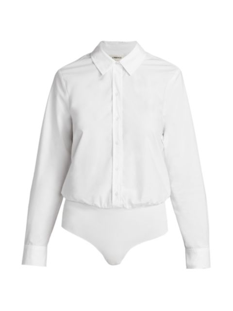 L'Agence Blake Button-Down Bodysuit   SaksFifthAvenue