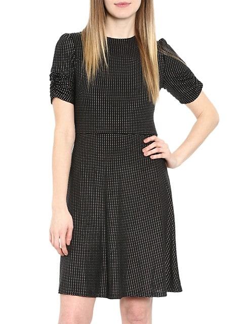 Metallic Dot Short-Sleeve Dress