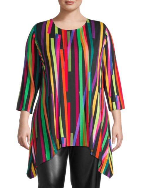 Caroline Rose, Plus Size Living Color Stretch Knit Tunic | SaksFifthAvenue