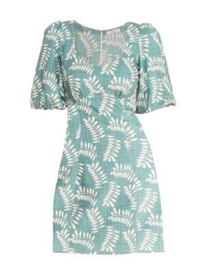 Parker Cammie Tropical Puff Sleeve Mini Dress