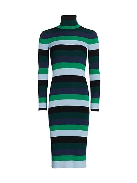 Lisa Striped Knit Turtleneck Dress