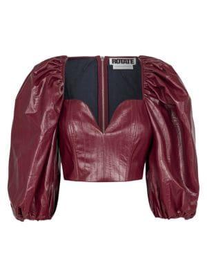Rotate Birger Christensen Irina Faux Leather Puff-Sleeve Top