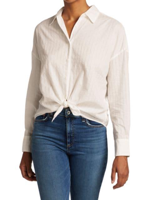Rag & Bone Striped Tie-Front Long-Sleeve Shirt   SaksFifthAvenue