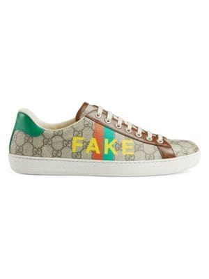 Gucci Mens New Ace Fake/Not Print Sneakers