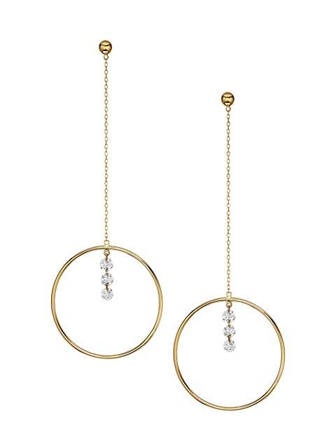Pendule 18K Yellow Gold & Diamond Drop Pendulum Earrings