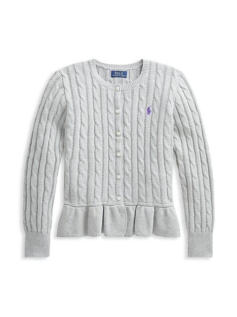 Little Girl's & Girl's Cable-Knit Peplum Hem Sweater