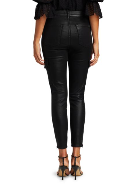 7 For All Mankind Coated High-Waisted Cargo Skinny Jeans | SaksFifthAvenue