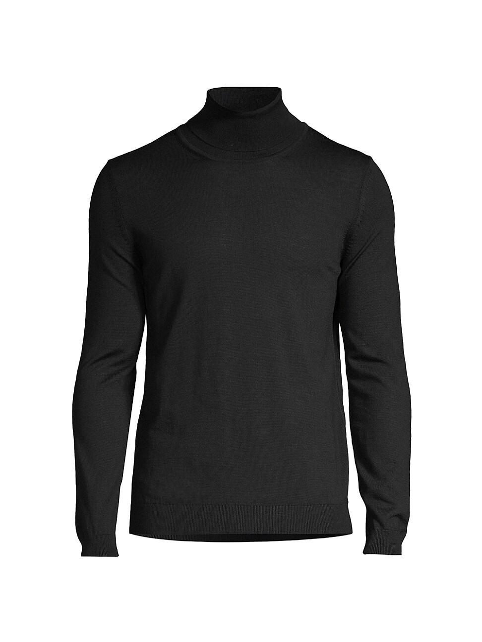 Hugo Boss Men's Musso Virgin Wool Turtleneck Sweater In Black