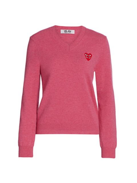 Comme des Garcons Play Double Heart V-Neck Pullover | SaksFifthAvenue