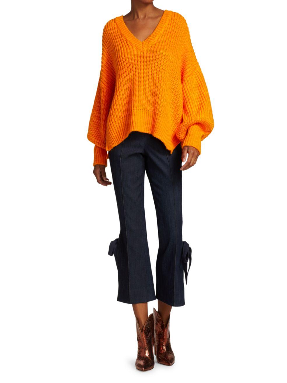 Cinq à Sept Antonella Knit Puff-Sleeve Sweater   SaksFifthAvenue