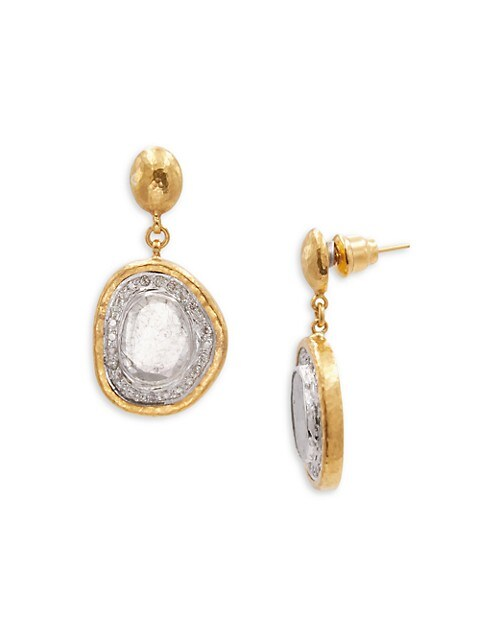 Elements 18K & 24K Two-Tone Gold & Diamond Drop Earrings