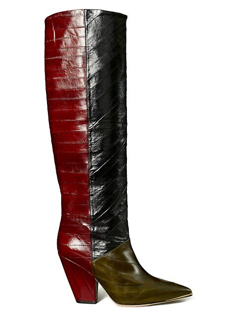 Tory Burch Lila Two-Tone Eel Leather Knee-High Boots