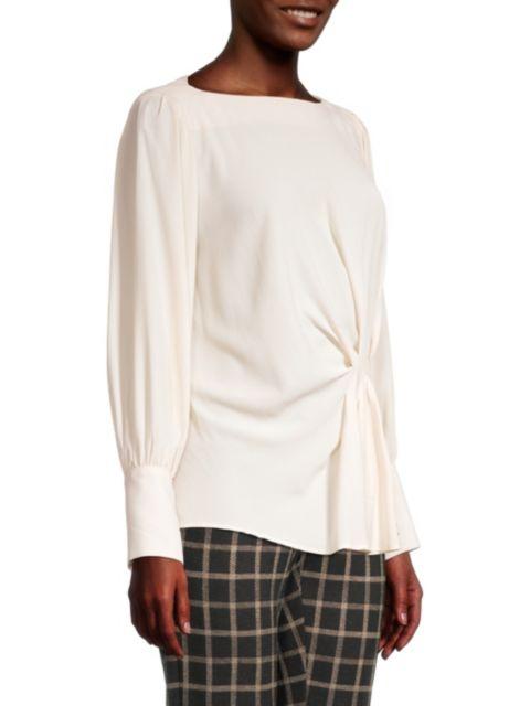 Seventy Crepe Long-Sleeve Draped Blouse | SaksFifthAvenue