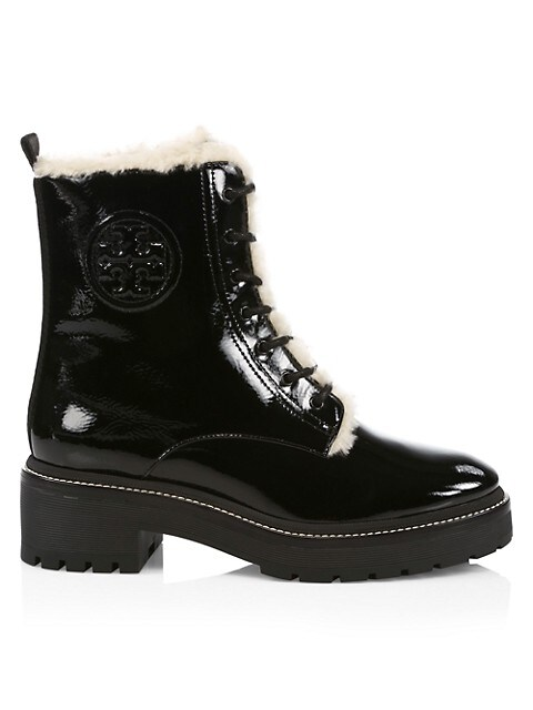 Tory Burch Miller Lug-Sole Shearling-Lined Patent Leather Combat Boots