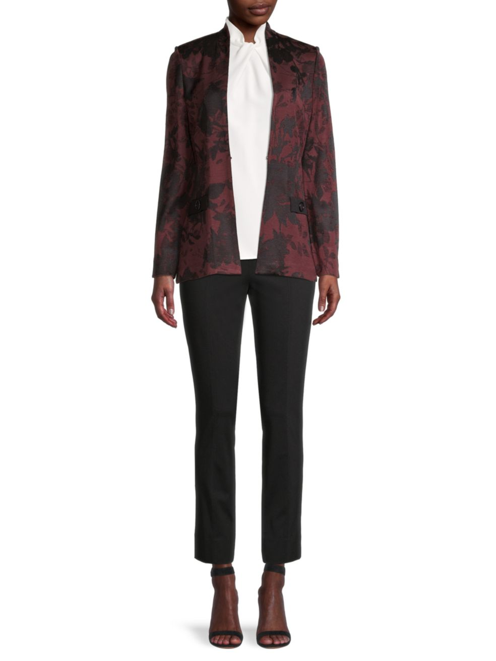 Misook Floral Jacquard Knit Jacket | SaksFifthAvenue